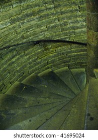 Old spiral spin stair in moon lighting