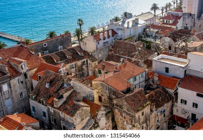 Old Split cityscape with seashore and ancient houses. Travel croatia