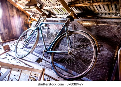 Old sport bicycle left in village loft