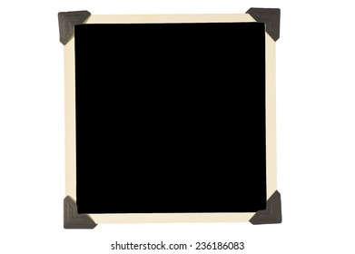 Old Square Photo Frame With Black Corners On White Background