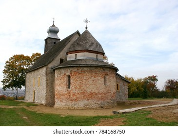 Old St Anne`s rotunda built of stone and brick near Uzhhorod (village Horyany, Zakarpattya region, Ukraine)