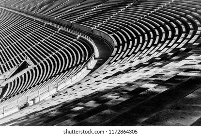 Old stadium in Athens Greece, Black and White photo.