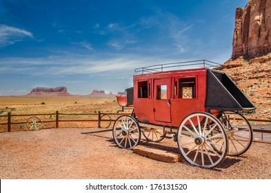 An Old Stagecoach and Blue Sky