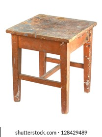 Old, stained, dirty wooden stool