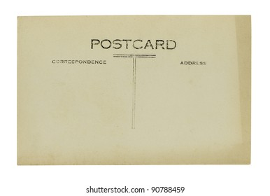 old stained postcard on a white background