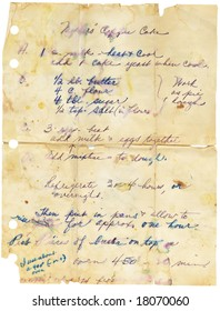 Old stained and torn family recipe. Handwritten.