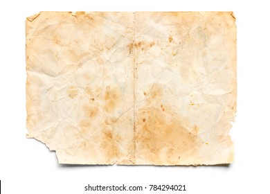 Old stained and torn paper isolated on white.