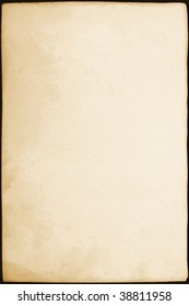 Old, stained vintage paper or parchment. Includes clipping path so you can place on any background.