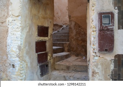 An old staircase that connecting another side of the street at old medina of Fez.