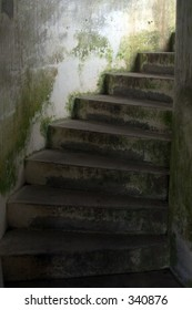 Old stairs in abandoned prison