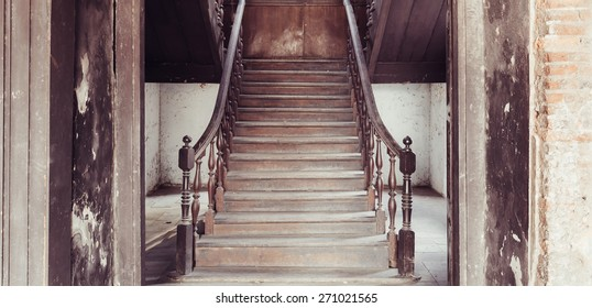 old stairs with film texture in vintage style