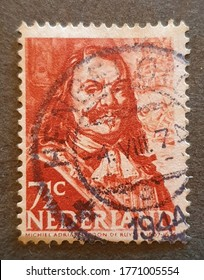 old stamp from Holland 1944 with the image of Michiel Adriaanszoon de Ruyter . 02.Jul.2020 in Sovata city - Romania