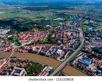 Old star in Karlovac city, beautiful old town, historical landmark of Croatia, Karlovac, city with 4 rivers, flood season