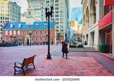 Old State House and Financial district, downtown Boston, Massachusetts, United States. People on the background.