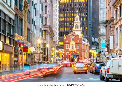 Old State House and the skyscrapers of the Financial District at twilight in Boston, Massachusetts, USA