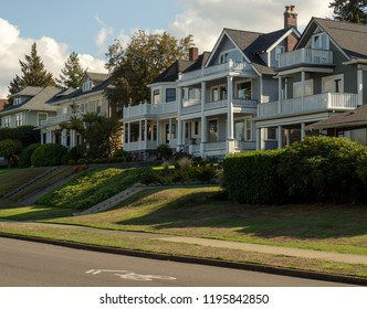 Old stately houses along residential street in Tacoma Washington