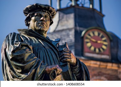old statue of Martin Luther in Eisleben, Germany