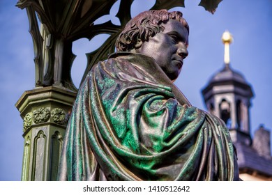 Old statue of Martin Luther in Wittenberg, Germany