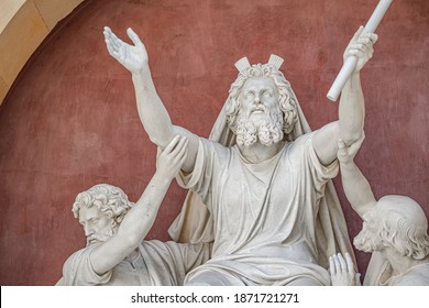 Old statue with prophets in Judaism Moses, Aaron and Hur at the old Church of Peace (Friedenskirche), located at Sanssouci City Park entrance in Potsdam, Germany
