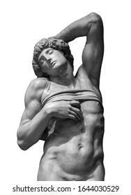 Old statue of a suffering man isolated on white. Sculpture symbol of death