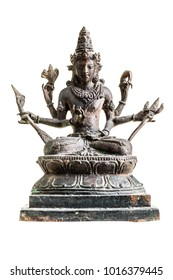 an old statuette of hindu deity vishnu isolated over a white background