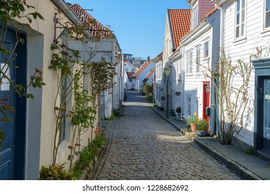 Old Stavanger, Norway - narrow lanes and small white-painted wooden houses typify this part of the town known locally as Gamle Stavanger.