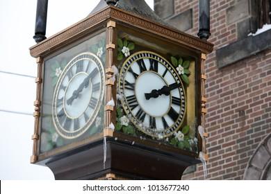 Old Steam clock in Hokkaido Japan winter season vacation time.