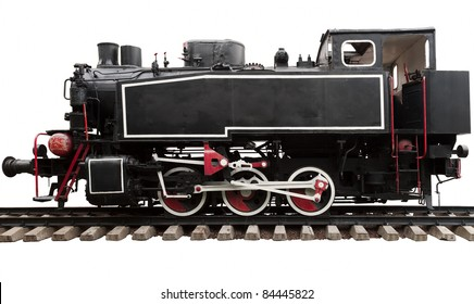 Old steam engine locomotive isolated on white