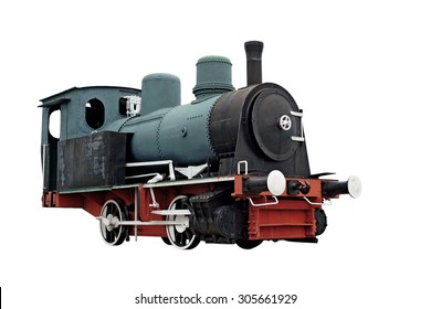 old steam engine locomotive train isolated on white background