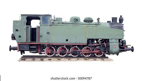 old steam engine on white background