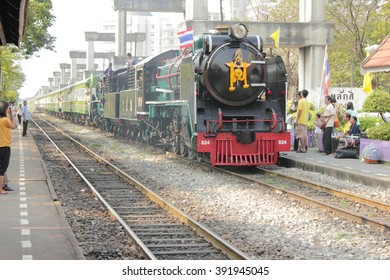 The old steam locomotive at the Lak Si Station (Bangkok, Thailand) on December 5, 2012. The special trains of the State Railway of Thailand (SRT).