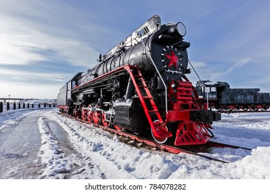 Old steam locomotive Nizhniy Novgorod, Russia.  The Soviet locomotive class LV was a Soviet main freight steam locomotive type. Between 1952 and 1956, 522 locomotives were built.