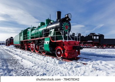 Old steam locomotive Nizhniy Novgorod, Russia.  The locomotive of the C series. It is designed for driving small passenger express trains. Produced from 1910 to 1919.