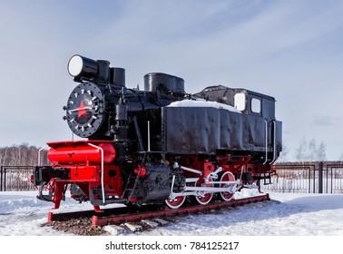 Old steam locomotive Nizhniy Novgorod, Russia. Steam locomotives of type 9P.