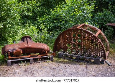 Old steam locomotive parts waiting to be used