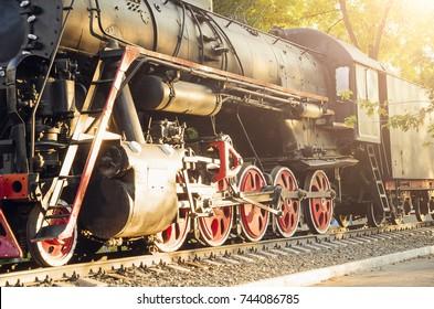 Old steam locomotive , vintage train.