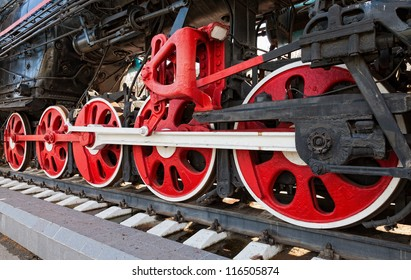 Old steam locomotive wheels