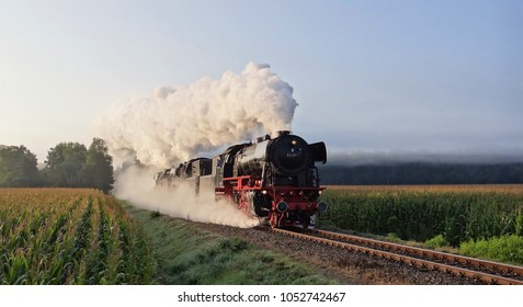 Old steam locomotives in the morning in the Netherlands.