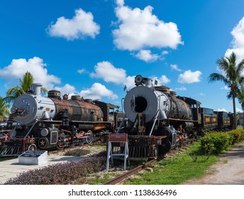 Old steam locomotives or railway trains and blue sky. Captured in Cuba in summer 2018