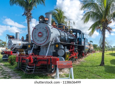 Old steam locomotives or railway trains and blue sky. Captured in Cube in summer 2018