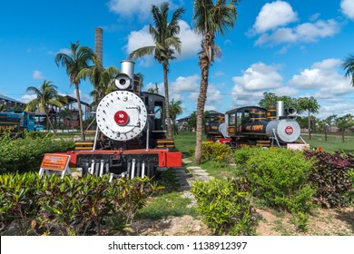 Old steam locomotives or railway trains. Captured in spring 2018, in Museum of Agroindustry Azucarera, Remedios, Caibarien, Cuba