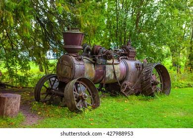 Old steam tractor in Palmse, Estonia