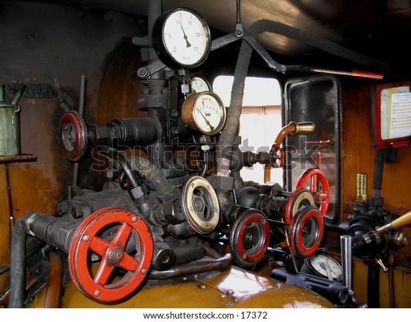 Old steam train controls