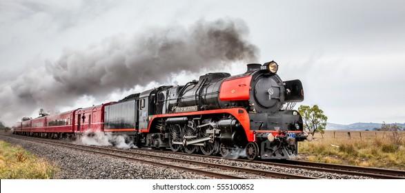 Old Steam Train passing through Clarkefield, Victoria, Australia, August 2016