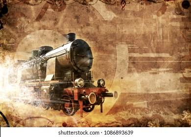 old steam train, vintage grunge background illustration