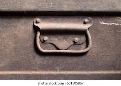 Old steel box with vintage handle.