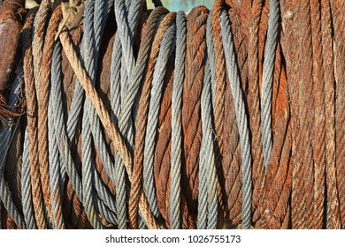 Old steel cable wrapped up in a coil