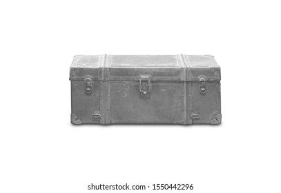 Old steel crates Isolated on white background
