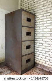 Old steel filing cabinet in home office