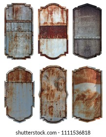 Old steel metal sign plate texture background isolated on white, Vintage borders and frames for design work